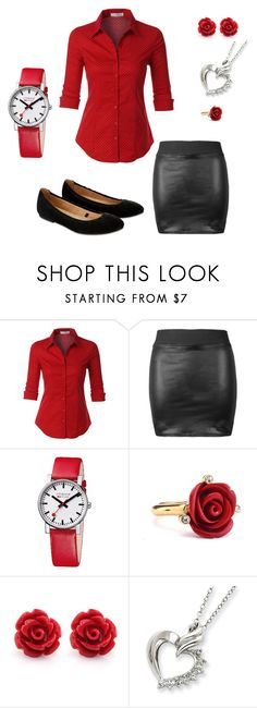 """""""Rose's buisness"""" by moon24 ❤ liked on Polyvore featuring LE3NO, Mondaine, Oscar de la Renta and Accessorize"""