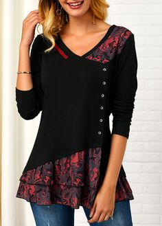 Printed V Neck Button Front T Shirt | modlily.com - USD $29.40