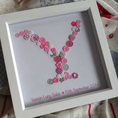 Letter Personalised Button Picture Initial by ButtonsandBobbinsUK #buttoncraft #buttonpicture #buttons #birthday #1stbirthday #gift