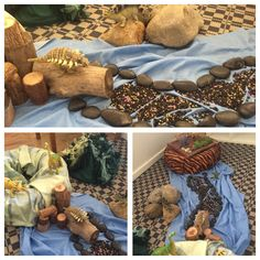 Reggio inspiring play. Dinosaur world. Using natural and repurposing materials to create a world that let's children delve into their imagination and engage with others to role play and build on communicative and social skills.