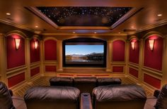 let's face it, I would probably never leave this room. Finally, this amazing family-sized home theater with star-gazing moon roof and big leather sofas! Home Theater Decor, At Home Movie Theater, Home Theater Rooms, Home Theater Design, Home Decor, Cinema Room, Lounge, Media Room Design, Design Room