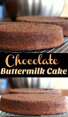 Chocolate Buttermilk Cake #chocolate #chocolatecake #cake #layercake