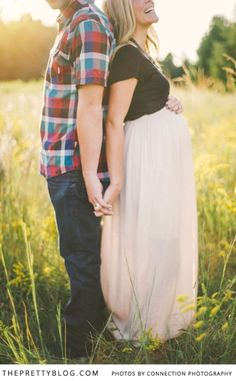 Krista & Jason, Maternity Shoot in a Buttery Flower Field | Family and Kids, Maternity | The Pretty Blog