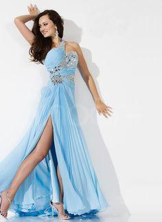 Graceful A-line One-shoulder Rhinestones Prom Dress