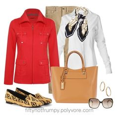 Saturday Errands by fiftynotfrumpy on Polyvore featuring polyvore, fashion, style, Raxevsky, Dash, J.Crew, Sole Society, River Island, Topshop, MICHAEL Michael Kors, Diane Von Furstenberg, cords, silk scarf, red jacket and white shirt