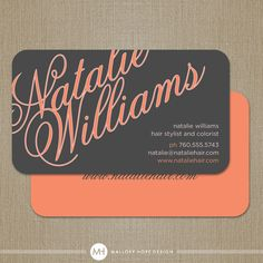 Elegant Name Modern Hair Stylist Business Card  / Mommy Card / Calling Card - CUSTOMIZE Colors and Content on Etsy, $32.50