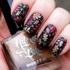 Herbst Nail Art Lina Nail Stamping Platte Machen Sie Ihre Marke 08 Hit the Bottle Polish - Nail Ideas Nail Stamping Designs, Diy Nail Designs, Nail Stamping Plates, Nail Polish Designs, Gel Polish, Thanksgiving Nail Designs, Thanksgiving Nails, Autumn Nails, Fall Nail Art