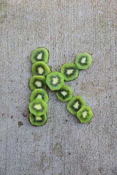 Today is brought to you by the letter K, for kiwi. Name In Different Fonts, Alphabet And Numbers, Letter Art, Cute Food, Lettering Design, Love Letters, Design Crafts, Fruit, Kiwi