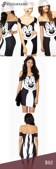 RARE Lazy Oaf Looney Tunes Pepe Body-con Dress LAZY OAF Black X Looney Tunes Pepe Bodycon Dress   RARE & SOLD OUT!  Size Medium New without tags   Insanely cute black-and-white bodycon dress, featuring the ultimate lover, Pepe Le Pew. The front features his charming face and the back features his fluffy tail. Dress by Lazy Oaf of London made from a soft stretch cotton-rich fabric, off shoulder design with sweetheart neckline & printed motif bodycon fit.   ⚡️Very reminiscent of Moschino…