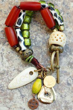 Lime Safari Bracelet: Exotic Amber, Giraffe Print, Lime, Bone & Mixed Metals Charm Bracelet~KELLY CONDERA