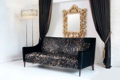 One of a kind, black and gold Lacaze sofa