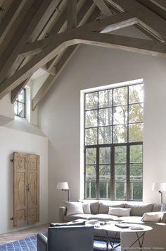 Rustic beams & modern window Modern Rustic #interiordesign