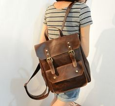 Etsy // Retro men/women Leather Backpack College backpacks by Adamshops, $39.99