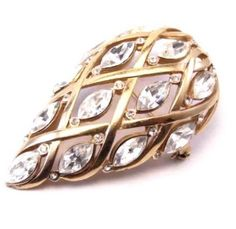Vintage Gold Tone Pear Shaped Rhinestones Dome Pin Brooch