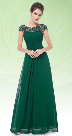 b5e55c46f9f Lace Cap Sleeve Evening Gown. Emerald Green ...