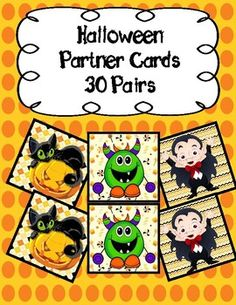 Never again will you struggle with choosing partners in your class. Simply print out these cards (I print them on cardstock for extra sturdiness!) and let your kids choose one each. Then, they find the buddy who has the same and ......viola!!!! Work buddies! -30 different Halloween Themed sets to chose from. Partner Cards, Primary Classroom, Halloween Themes, Teacher Pay Teachers, Kids, Young Children, Boys, Children, Boy Babies