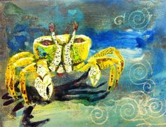 Shop for paintings on Etsy, the place to express your creativity through the buying and selling of handmade and vintage goods. Crab Painting, Virtual Art, Mixed Media, Art Gallery, Creatures, Crabs, Erika, Handmade Gifts, Artist
