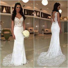 White Lace Mermaid Cheap Online Long Wedding Dresses, BG51522