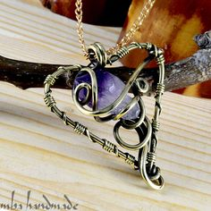 Heart Of Amethyst Necklace Antiqued Brass Wire Wrapped Natural Crystal Point #MBAHandmade #Wrap