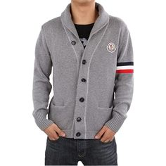 I know it's 100° outside, but I want this. Moncler Cardigan Sweater Men Grey #cardigan