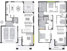 Saxonvale offers an individual accommodation & adjoining private Ensuites for all the family members. Browse through the floor plan now and enquire online. Dream House Plans, Modern House Plans, Small House Plans, House Floor Plans, Villa Design, Floor Design, Mcdonald Jones Homes, Small Villa, 2 Storey House Design