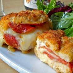 Cheese and pepperoni stuffed chicken.Mozzarella,pepperoni and egg stuffed chicken breasts.Delicious!!!