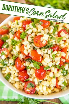 Dorothea's Corn Salad - the perfect summer side dish! Recipe from Reese Witherspoon's Grandmother. Corn, tomatoes, green onions, fresh herbs tossed in a homemade dressing made with white wine vinegar, lime juice, Dijon mustard, salt, pepper, honey, shallot, and olive oil. Can make in advance and refrigerate for later. Great for all your summer potlucks! #potluck #corn #salad #sidedish Tomato Side Dishes, Side Dishes For Bbq, Summer Side Dishes, Best Side Dishes, Corn Side Dishes, Potluck Side Dishes, Sides For Bbq Ribs, Best Sides For Bbq, Sides For Bbq Chicken
