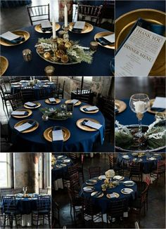 déco élégante pour la table, nappe de table satin en bleu foncé pour décorer bien votre mariage