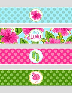 Instant Download - This listing is for Luau water bottle wraps. You will receive the images in the second picture. Each label measures 2x8.5 Aloha Party, Hawaiian Luau Party, Moana Birthday Party, Luau Birthday, Tropical Party, Flamingo Party, Flamingo Birthday, Printable Water Bottle Labels, Printable Labels
