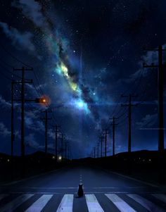 somewhere near, but far in time. by *megatruh  *somehow, this has an element of perfection that i know is there but i can't put my finger on it...it has night, it has a long road, it has stars and galaxies and a cat and clouds....