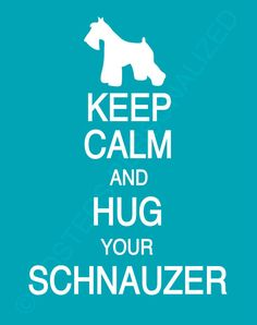 Keep Calm and Hug Your Schnauzer by PostersPersonalized on Etsy, $17.00