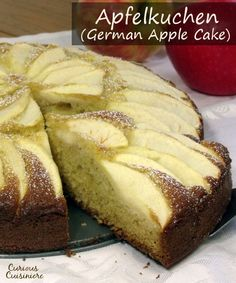 Fluffy and buttery cake topped with apples slices is a perfect German fall dessert. | www.curiouscuisiniere.com