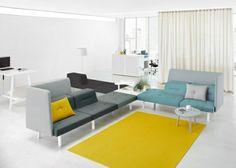Beschprechungsraum design colors yellow carpet modular furniture