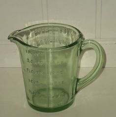 Vintage Green Depression Glass Measuring JUG | eBay Old Kitchen, Kitchen Dishes, Piece Of Me, Glass Collection, Vintage Green, Measuring Cups, Depression, Eat, Color