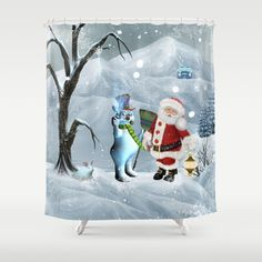 Funny snowman and Santa Claus Shower Curtain by