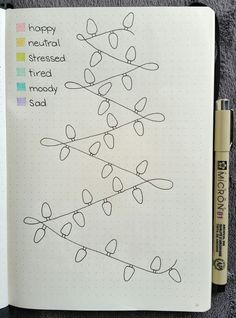 Christmas Lights Mood Tracker - I loved this idea but made it into a mood tracker for December! #moodtracker #bulletjournal #bujo #micron #leuchtturm1917 #december