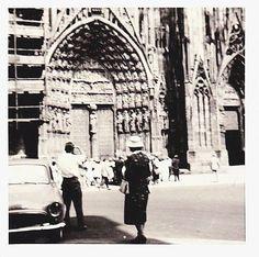 Mid Century Italian Travel Photo 60s Snapshot Church Architectural Vintage Car