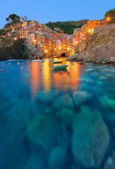 Riomaggiore. Cinque Terre, Italy - traveling lights
