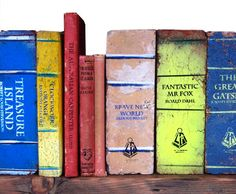 Bricks Painted to Look Like Books for the Best Bookends Ever