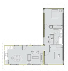 C6.3 by LivingHomes: floor plan works for container home.