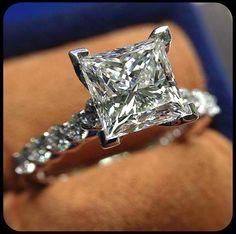 Verragio, 2-carat, princess cut, diamond band engagement ring #OBSESSED
