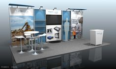Great combination of canopies, shelving and seating. Good use of booth space. -Featherlite Exhibits