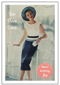 Two Piece Wiggle Dress Knitting Pattern PDF Instant Fifties Fashion, Vintage Fashion, Crochet Tunic, Crochet Tops, Filet Crochet, Striped Wedding, Wiggle Dress, Two Piece Dress, Vintage Knitting