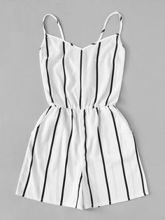 Criss Cross Back Striped RomperFor Women-romwe Cute Comfy Outfits, Cute Girl Outfits, Pretty Outfits, Stylish Outfits, Girls Fashion Clothes, Summer Fashion Outfits, Cute Fashion, Crop Top Outfits, Mode Outfits