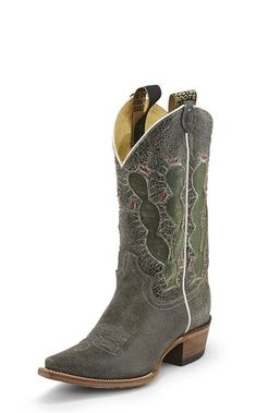 With its whimsical green and red flowering cactus design accented with white piping, the Pearce'd boot in Crackle Black leather from the Vintage Collection is a standout. Cowboy Boots Women, Cowgirl Boots, Western Boots, Riding Boots, Timberland Style, Timberland Boots, Timberland Fashion, Leather Sandals, Leather Boots