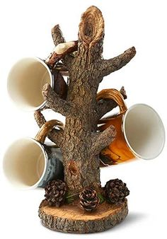 Sculpted Tree Branch Coffee Mug Holder : Wild Wings.This rustic looking tree mug holder takes the shape of a tree. The realistic looking tree bark and branches mug holder carefully holds up to six mugs while looking great on your counter. Driftwood Furniture, Rustic Furniture, Antique Furniture, Western Furniture, Outdoor Furniture, Furniture Ideas, Driftwood Crafts, Furniture Design, Log Cabin Furniture