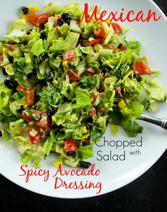 Mexican Chopped Salad with Spicy Avocado Dressing.  This is a healthy salad recipe with the most amazing dressing EVER!