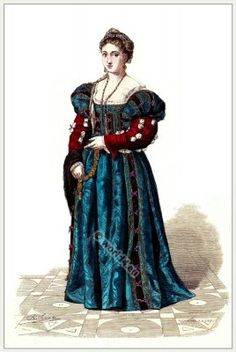 Italian Renaissance fashion costumes. Medieval women`s dress. Middle ages clothing