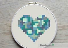 geometric modern cross stitch pattern heart small par Happinesst