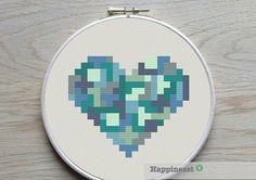 geometric modern cross stitch pattern heart, small, tangram style, PDF pattern ** instant download**